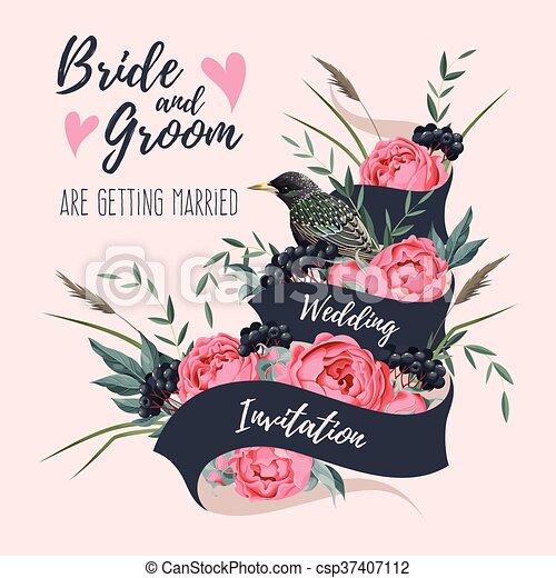 Wedding invitation with ribbon vector wedding invitation with wedding invitation with ribbon csp37407112 stopboris Gallery