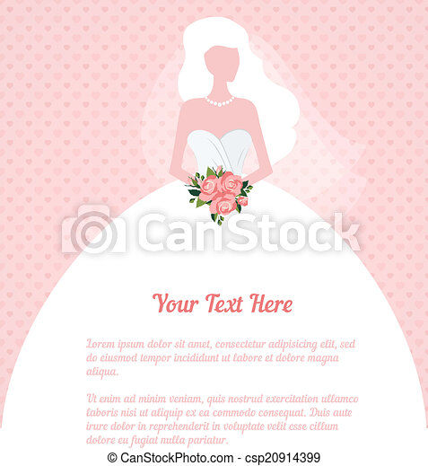 wedding invitation young woman silhouette - csp20914399
