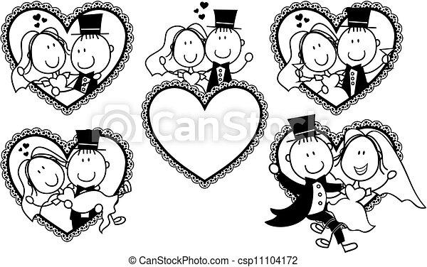 wedding invite funny frames set - csp11104172