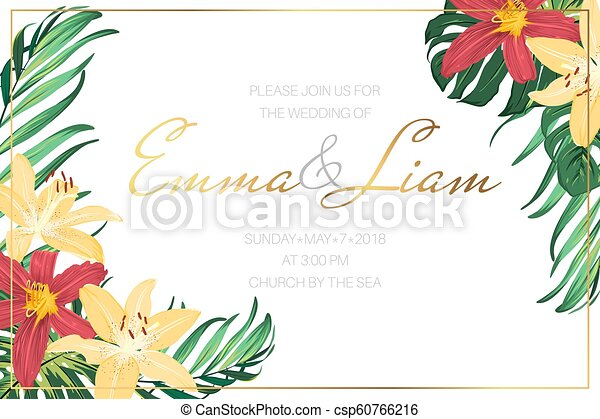 Wedding Invite Template Tropical Flowers Leaves