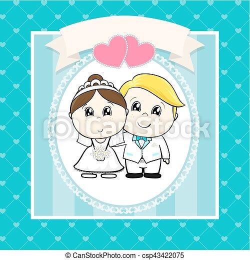 wedding, karikatur, einladung - csp43422075