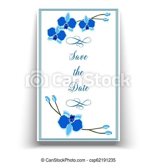 picture regarding Printable Wedding Card named Wedding ceremony connection function invitation template with blue orchid