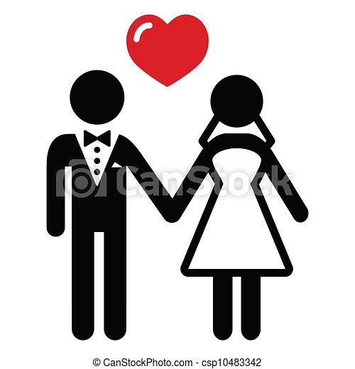 Wedding married couple icon - csp10483342