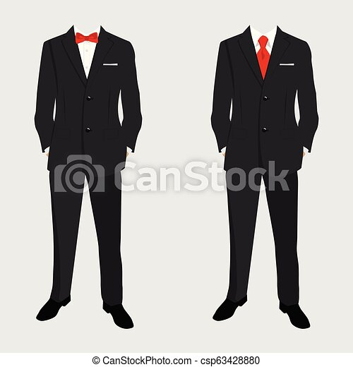 Wedding men\u0027s suit and tuxedo. Collection. Vector illustration.