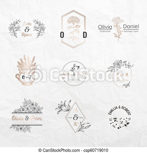 Wedding Monogram Collection Floral Templates For Invitation Cards Save The Date Logo Identity For Restaurant Boutique Cafe In Vector