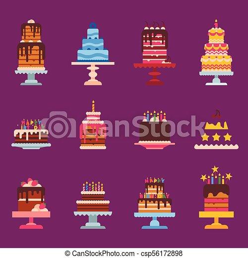 Wedding or Birthday pie cakes flat sweets dessert bakery ceremony delicious vector illustration. - csp56172898