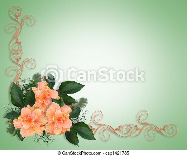 Wedding or Party Invitation Hibiscu - csp1421785