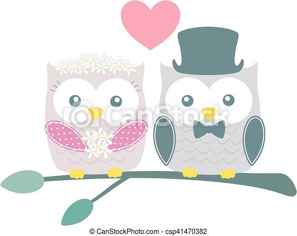 wedding owls - csp41470382