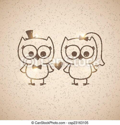 Wedding owls two cute owls wedding invitation vector hand drawn wedding owls csp23163105 stopboris Choice Image