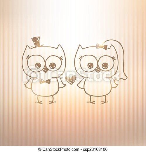 Wedding owls two cute owls wedding invitation vector hand drawn wedding owls csp23163106 stopboris Choice Image