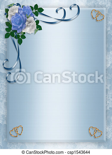 Wedding, Party Invitation Blue Roses - csp1543644