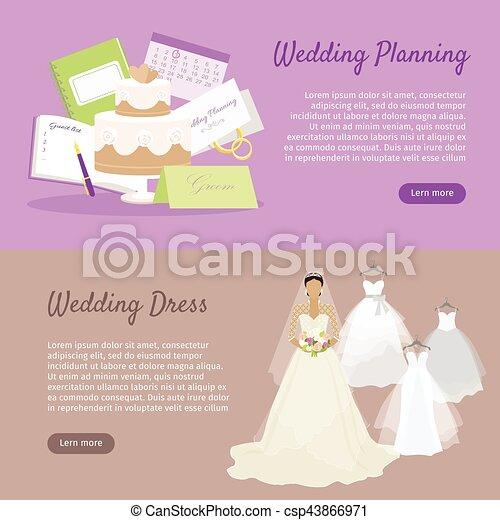 Wedding Planning and Wedding Dress Web Banner. - csp43866971