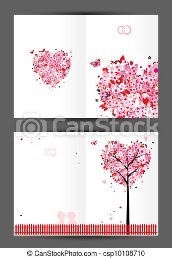 Wedding Postcard Cover And Inside Page Design For Your  Vector