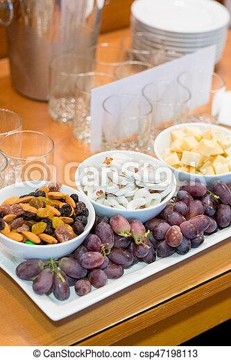 Wedding Reception Buffet Food Grapes Yogurt Pretzels Cheese And