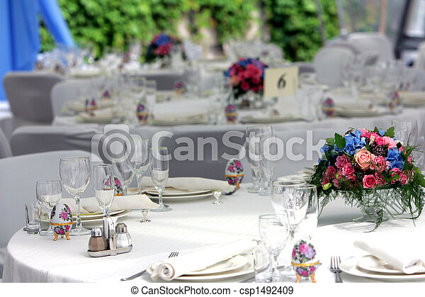 Wedding reception laid tables - csp1492409