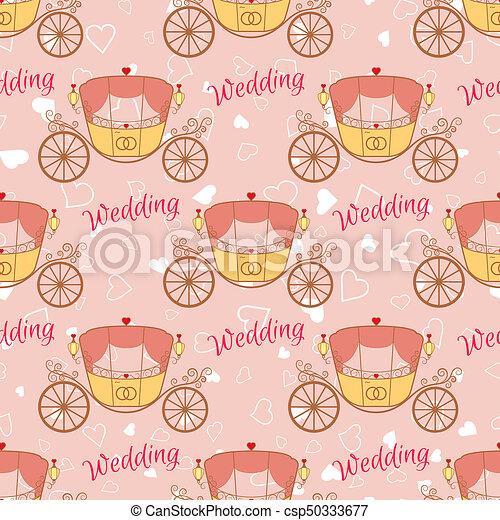 Wedding retro carriage seamless pattern - csp50333677