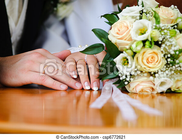 Wedding ring and hands bride groom hand married stock wedding ring and hands csp6772621 junglespirit Gallery