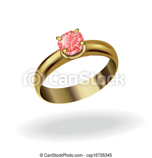 Wedding Ring Realistic Gold Ring With A Precious Stone Ruby