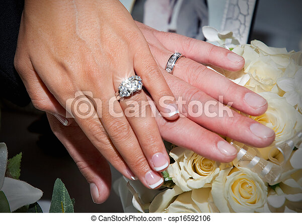 Wedding ring hands Couple showing rings on just married stock