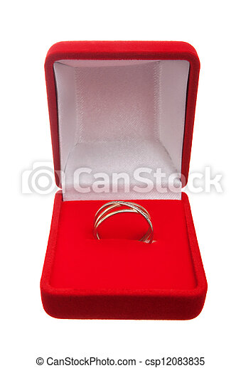 Wedding ring in red box isolated over white background.