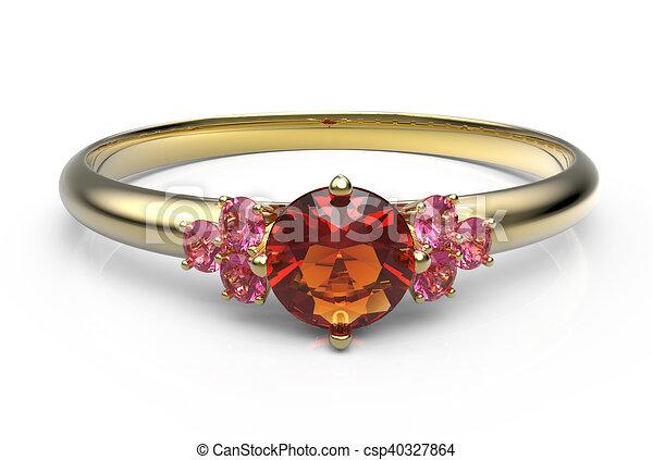 Wedding ring wiith diamond. 3D illustration - csp40327864