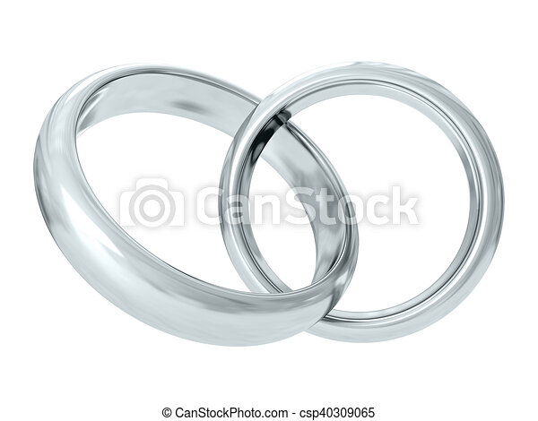 Wedding rings. 3D rendering - csp40309065
