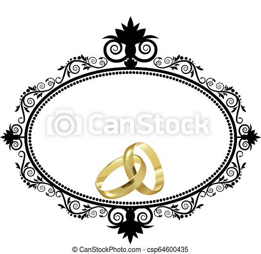 Wedding Rings and border - csp64600435