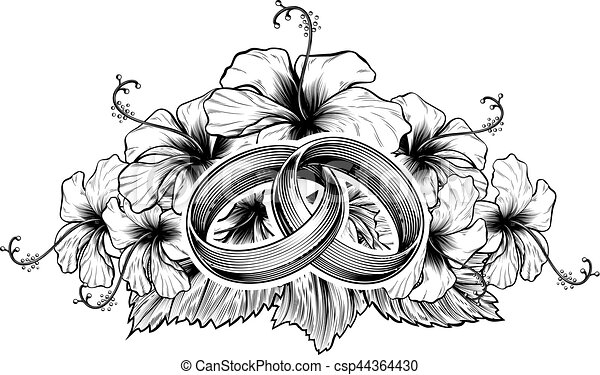 Wedding Rings and Hibiscus Flowers - csp44364430