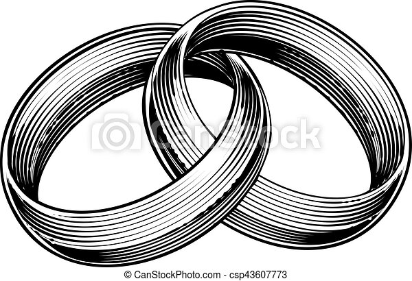 Wedding Rings Bands Engraved Etching Woodcut Style - csp43607773