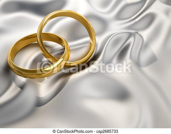 Wedding Rings Interlocked Wedding Rings Sitting On Silver Silk