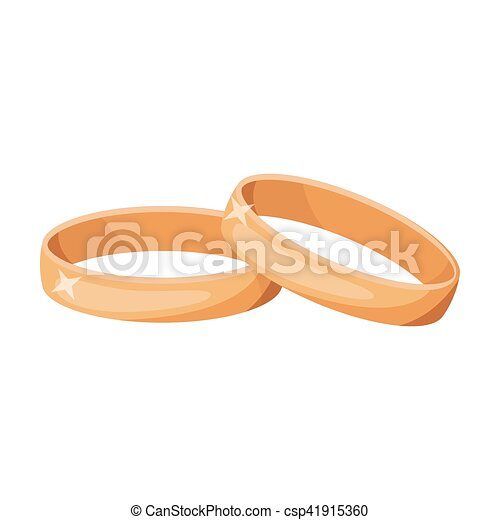 Wedding Rings Icon In Cartoon Style Isolated On White Background