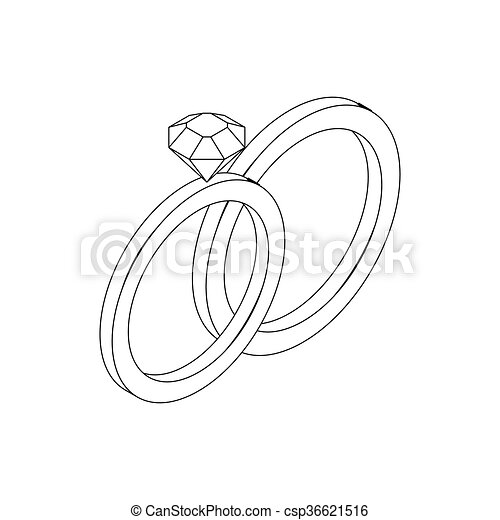 Wedding Rings Icon Isometric 3d Style Wedding Rings Icon In