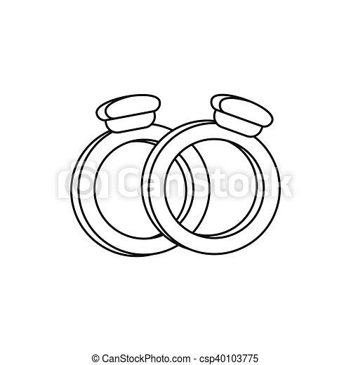 Wedding Rings Icon Outline Style Wedding Rings Icon In Outline