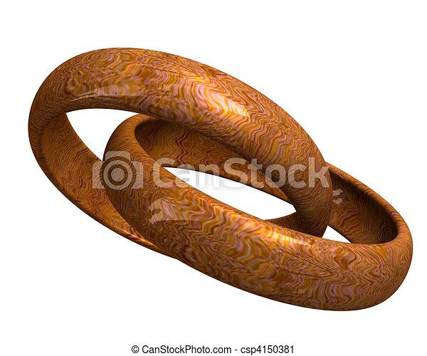 wedding rings in wood (3D) - csp4150381