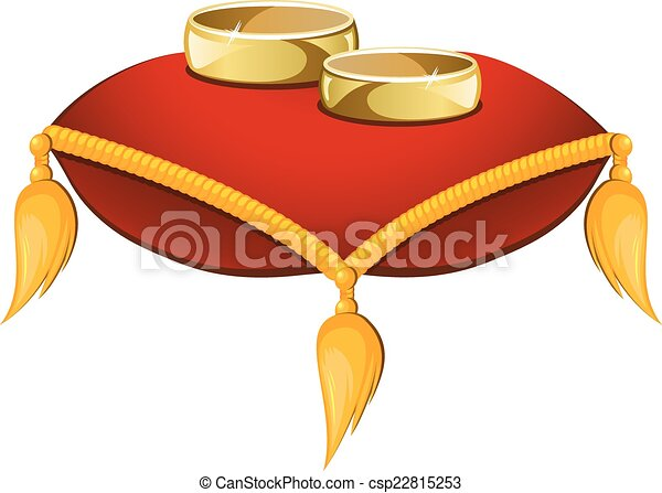 Wedding rings on a red pillow isolated on a white clipart vector