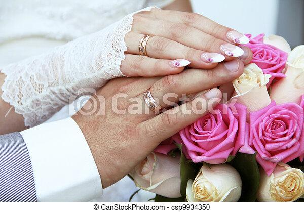 Wedding Rings On Hands Stock Illustration