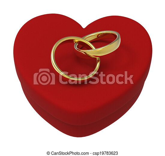 Wedding Rings On Heart Box Show Engagement And Marriage