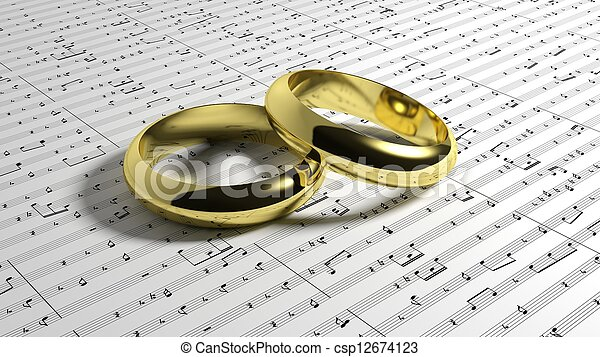 Wedding Rings On Music Notes Background