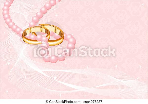 Wedding rings on pink    - csp4276237