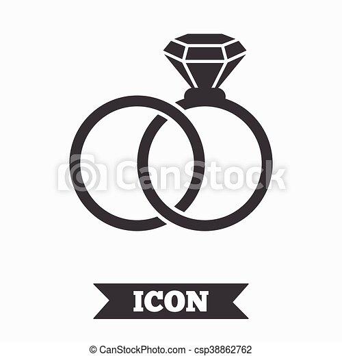 Wedding Rings Sign Icon Engagement Symbol Graphic Design Element