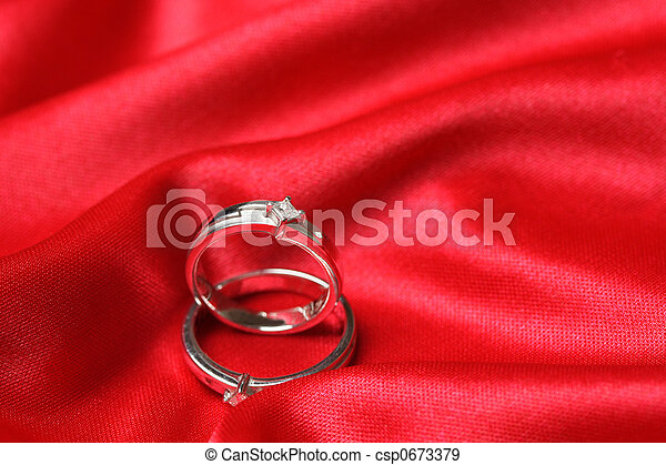Wedding Rings A Pair Of Wedding Rings On A Red Cloth