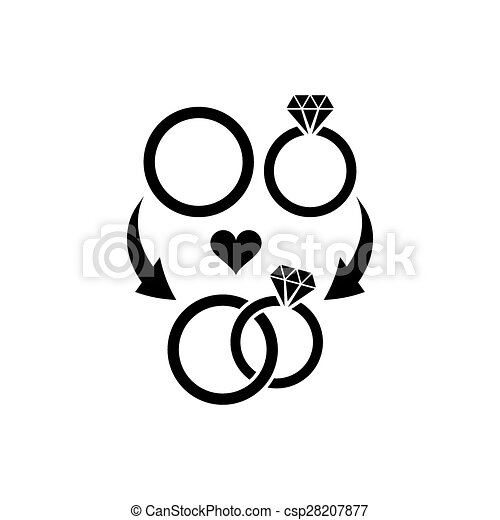 Wedding Rings Symbol Black Vector Wedding Rings Marriage And Love