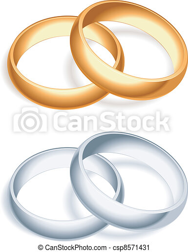 Golden and silver wedding rings vector clip art Search