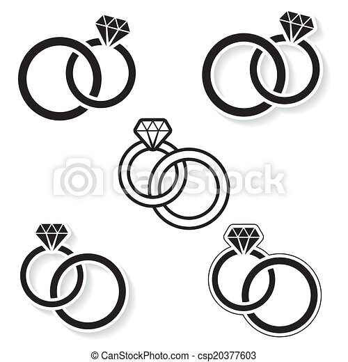 Vector black wedding rings icon on white background vector clipart