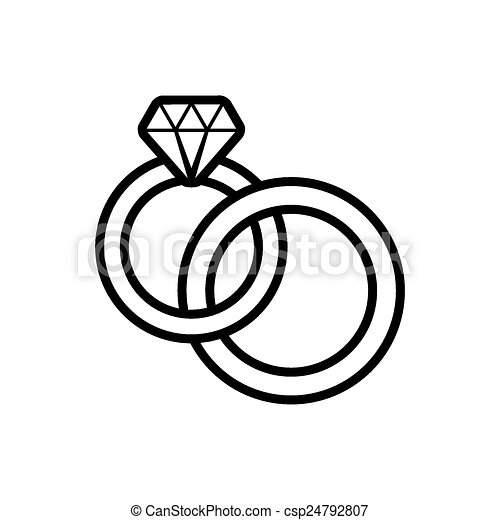 Wedding Rings Black Vector Wedding Rings Outline Icon On White
