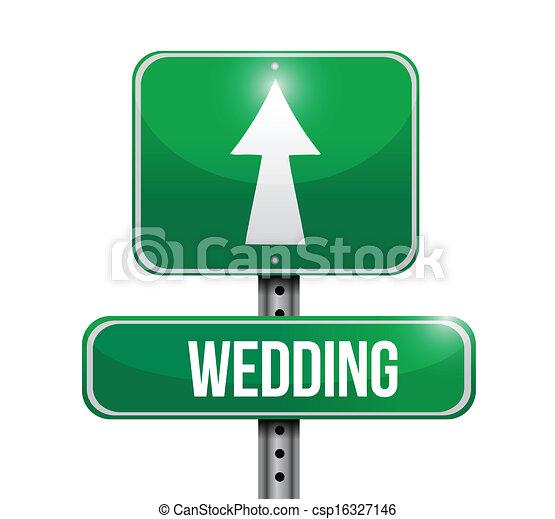 wedding road sign illustration  - csp16327146