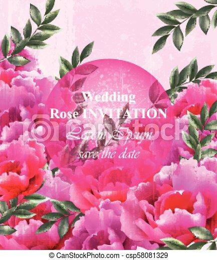 Wedding Roses Invitation Vector Beautiful Roses Flowers Decor
