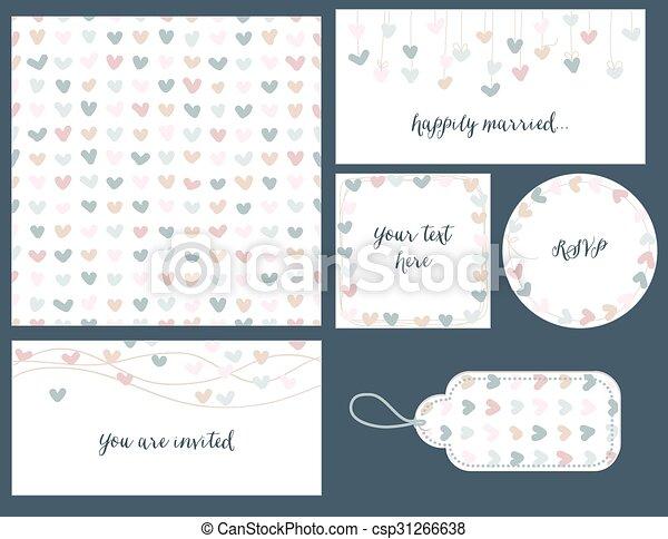 Wedding set hearts design - csp31266638