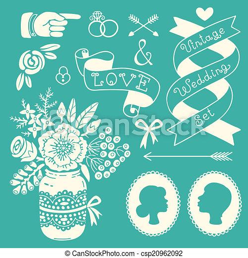 Wedding set of vintage design elements. - csp20962092