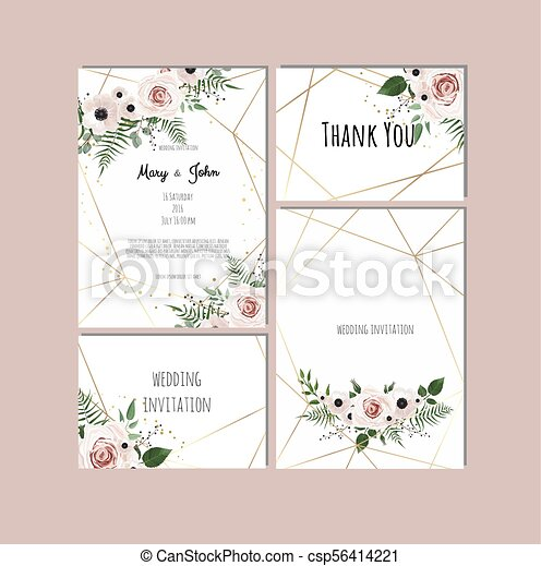 Wedding Set With Invitations Vector Set Of Vintage Floral Wedding